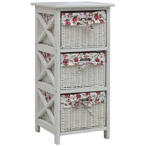 Side Cabinet with Three Baskets White Wood - White