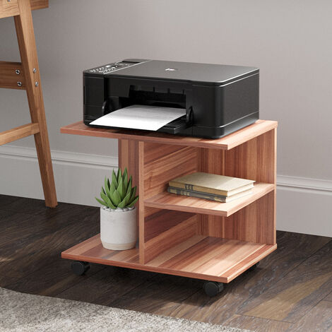 Side End Table 3 Shelves Printer Stand Table w/ Wheels Cart, Natural