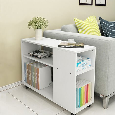 Side End Table with Storage Shelves, 2 Tiers Bookcase on Wheels