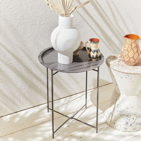 Side table Alexia Ø46cm in powder coated steel, Anthracite grey
