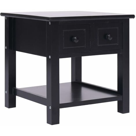 Side Table Black 40x40x40 cm Paulownia Wood