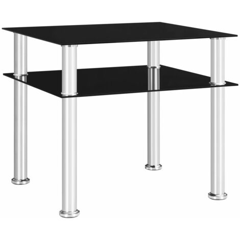 Side Table Black 45x50x45 cm Tempered Glass