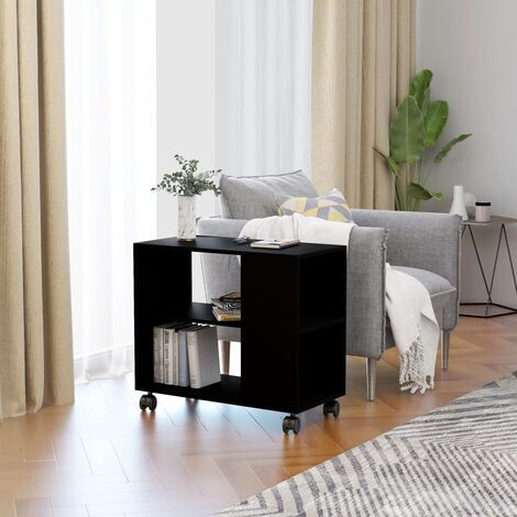 Side Table Black 70x35x55 cm Chipboard
