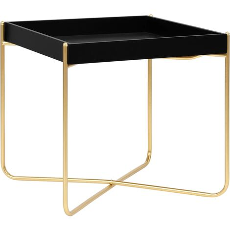 Side Table Black and Gold 38x38x38.5 cm MDF