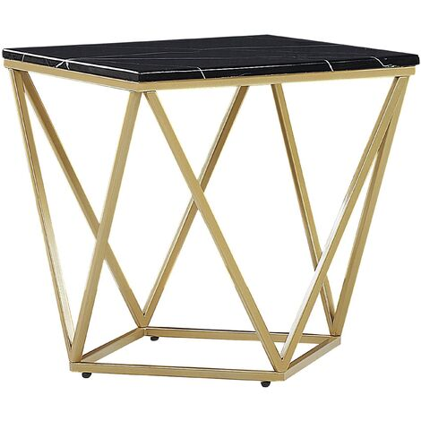 Side Table Black Marble Effect with Gold MALIBU