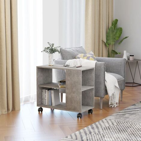 Side Table Concrete Grey 70x35x55 cm Chipboard