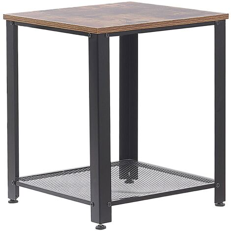 Side Table Dark Wood and Black ASTON