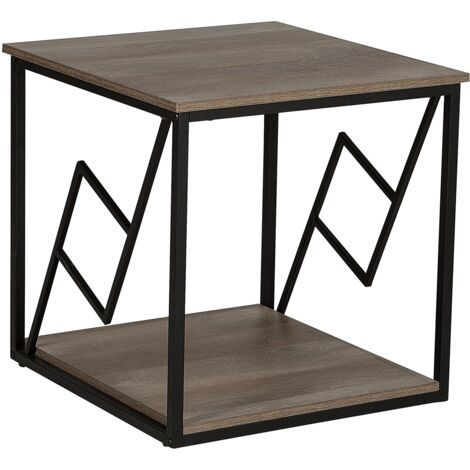 Side Table Dark Wood and Black FORRES