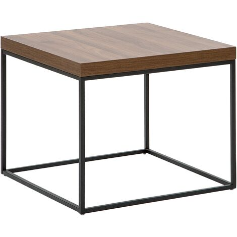 Side Table Dark Wood with Black DELANO