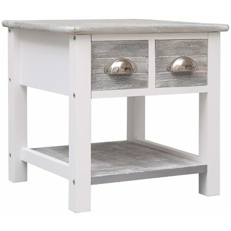 Side Table Grey 40x40x40 cm Paulownia Wood