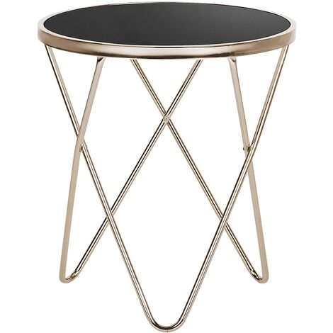 Side Table Hairpin Legs Tempered Glass Round Top Black with Gold Legs Meridian