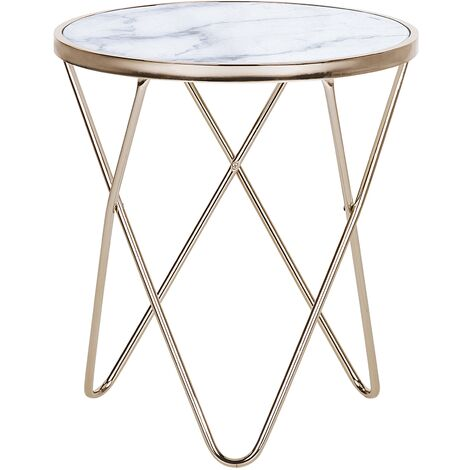 Side Table Hairpin Legs Tempered Glass Round Top Marble Effect White Meridian
