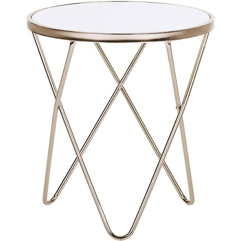 Side Table Hairpin Legs Tempered Glass Round Top White with Gold Legs Meridian
