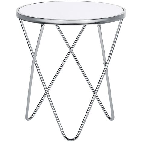 Side Table Hairpin Legs Tempered Glass Round Top White with Silver Legs Meridian