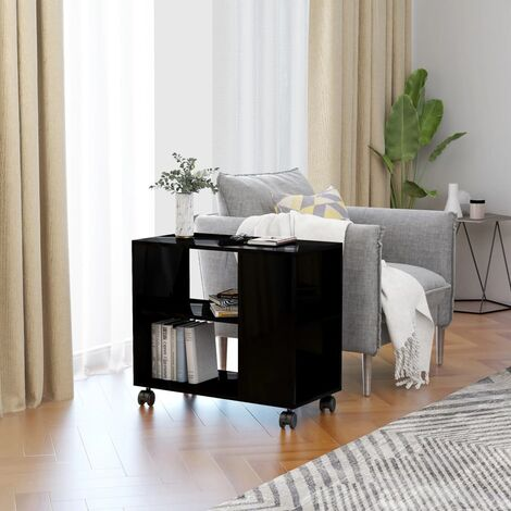 Side Table High Gloss Black 70x35x55 cm Chipboard - Black