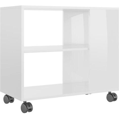 Side Table High Gloss White 70x35x55 cm Chipboard