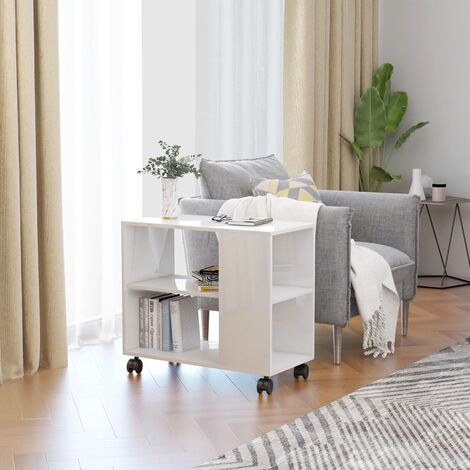 """main image of """"Side Table High Gloss White 70x35x55 cm Chipboard36479-Serial number"""""""