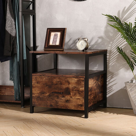Side Table Industrial Nightstand Wooden Bedside Storage Cabinet Bedroom with Drawer Open Shelf