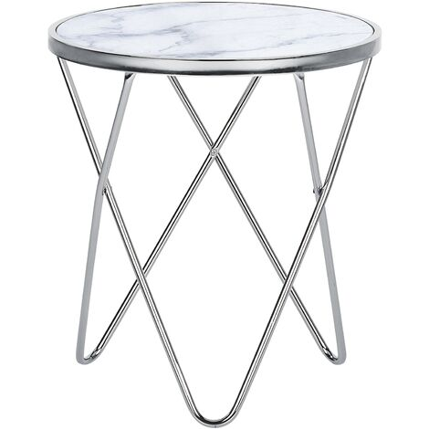 Side Table Marble Effect White with Silver MERIDIAN II