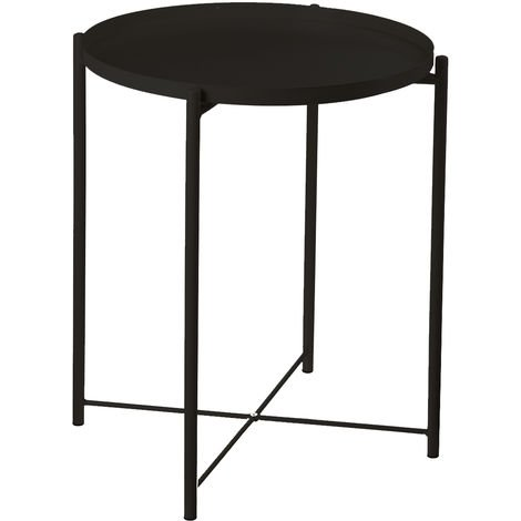 Side Table Metal Coffee Table 53cmx42cm Black