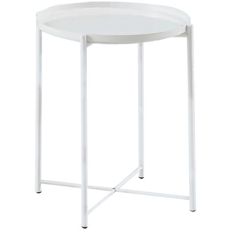 Side Table Metal Coffee Table 53cmx42cm White