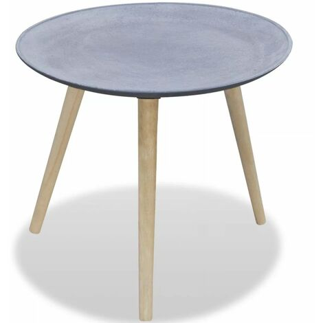 Side Table Round Grey Concrete Look