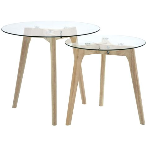 Side Table Set 2 pcs Tempered Glass
