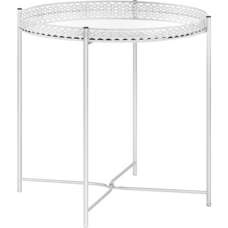 Side Table Silver 40x40x41 cm Glass