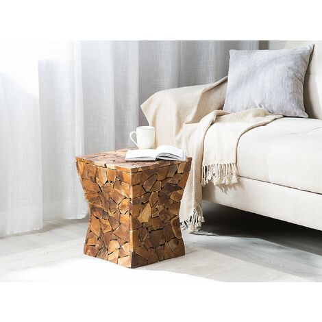 Side Table Teak Wood Brown MANDORA