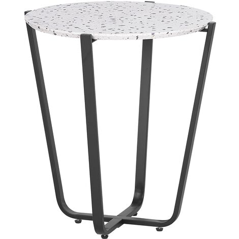 Side Table Terrazzo Effect White with Black VALERA