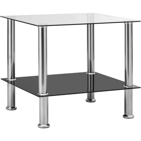 Side Table Transparent 45x50x45 cm Tempered Glass - Transparent