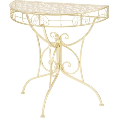 Side Table Vintage Style Half Round Metal 72x36x74 cm Gold