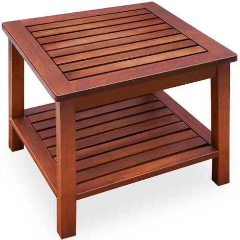 Side Table Washington Acacia Hardwood 2 Storage Surfaces Indoor Outdoor