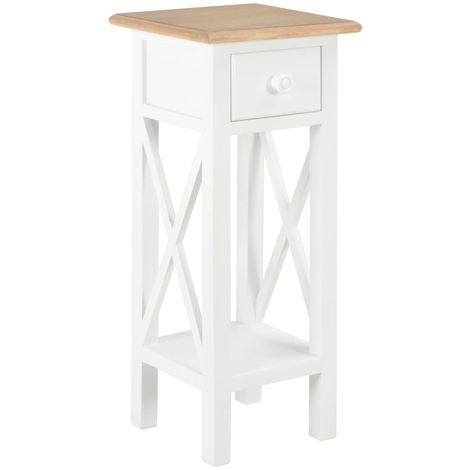 Side Table White 27x27x65.5 cm Wood