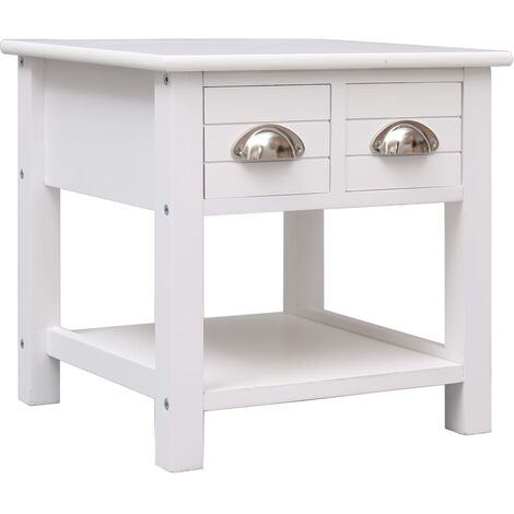 Side Table White 40x40x40 cm Paulownia Wood