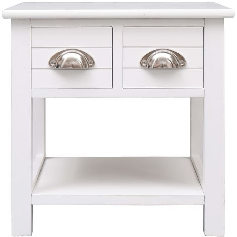 Side Table White 40x40x40 cm Paulownia Wood