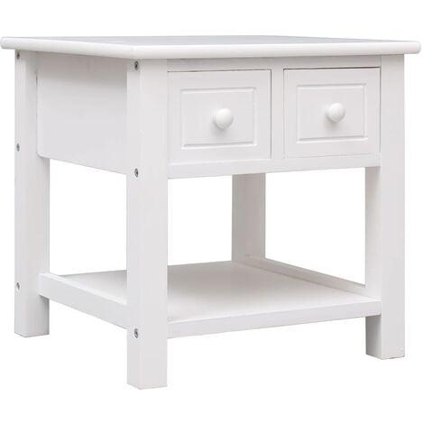 Side Table White 40x40x40 cm Paulownia Wood - White
