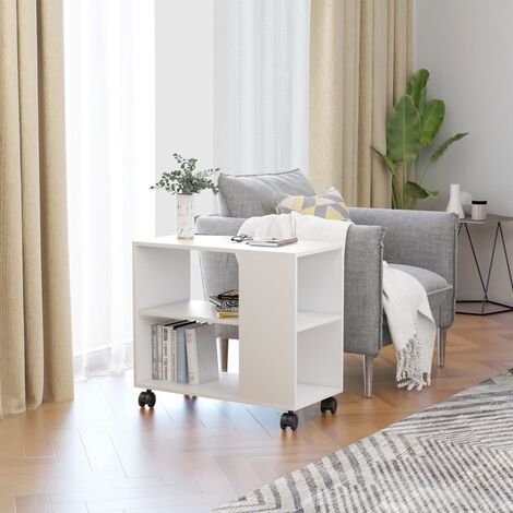 Side Table White 70x35x55 cm Chipboard - White