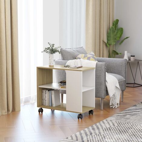 Side Table White and Sonoma Oak 70x35x55 cm Chipboard - Beige