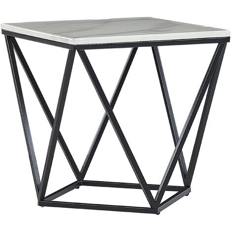 Side Table White Marble Effect with Black MALIBU