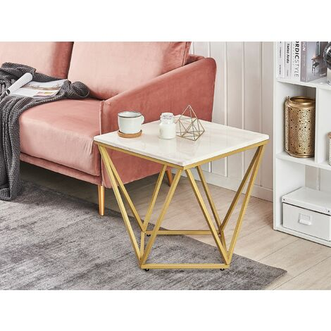 Side Table White Marble Effect with Gold MALIBU
