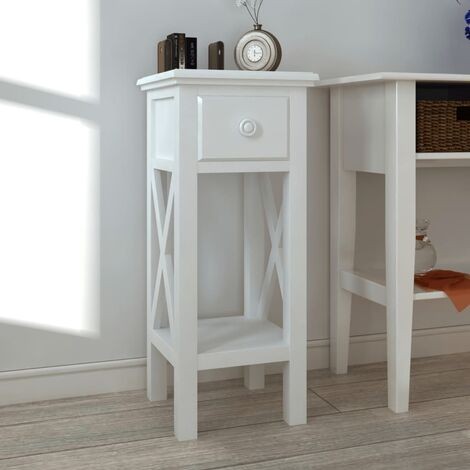 Side Table with Drawer White - White