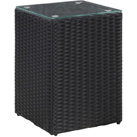 Side Table with Glass Top Black 35x35x52 cm Poly Rattan