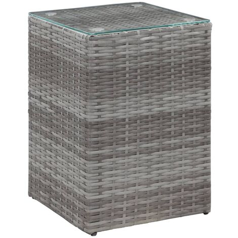 Side Table with Glass Top Grey 35x35x52 cm Poly Rattan