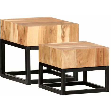 Side Tables 2 pcs Solid Acacia Wood - Brown