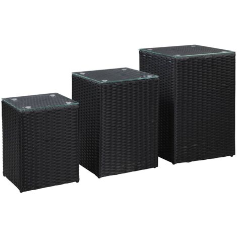 Side Tables 3 pcs with Glass Top Black Poly Rattan