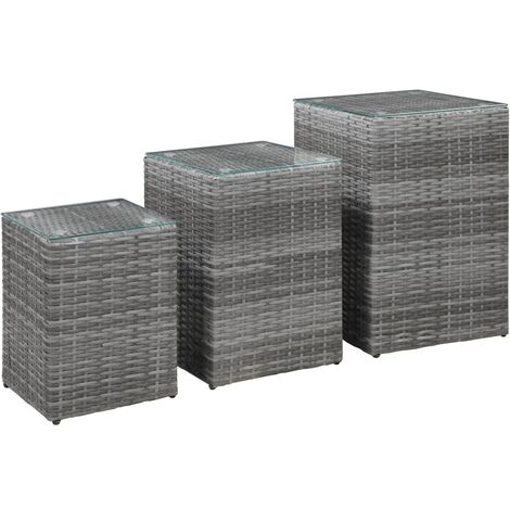 Side Tables 3 pcs with Glass Top Grey Poly Rattan