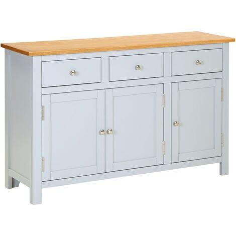 Sideboard 110x33.5x70 cm Solid Oak Wood - Grey