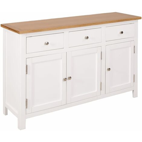 Sideboard 110x33.5x70 cm Solid Oak Wood - White