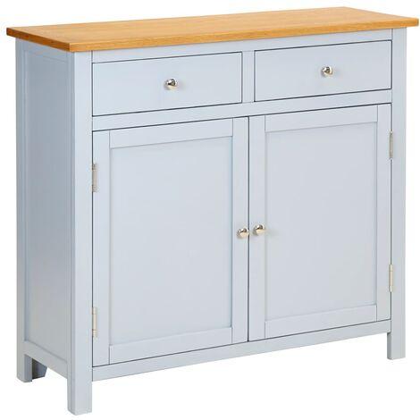 Sideboard 90x33.5x83 cm Solid Oak Wood - Grey